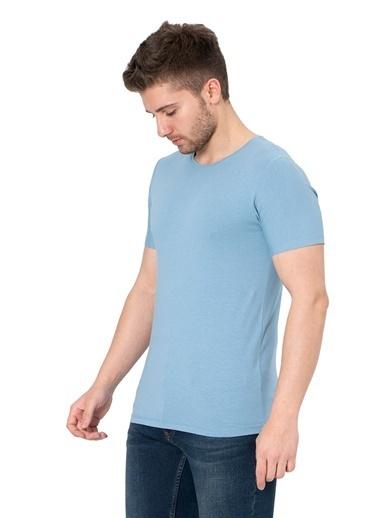 White Stone Los Alcarrizos Slim Fit Düz Sıfır Yaka T-Shirt Beyaz Mavi